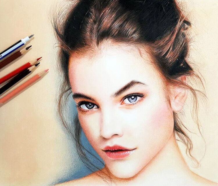 Barbara Palvin pen drawing by Mostafa Mosad Khodeir