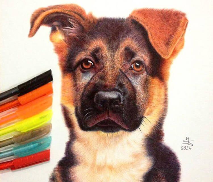Doggy pen drawing by Mostafa Mosad Khodeir