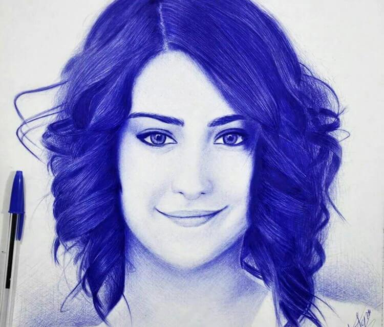 Hazal Kaya areha pen drawing by Mostafa Mosad Khodeir