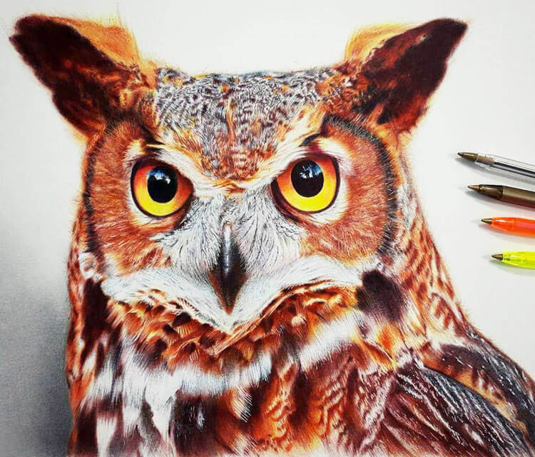 Owl pen drawing by Mostafa Mosad Khodeir