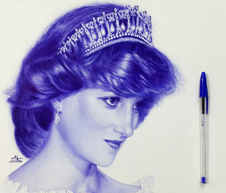 Princess Diana pen drawing by Mostafa Mosad Khodeir