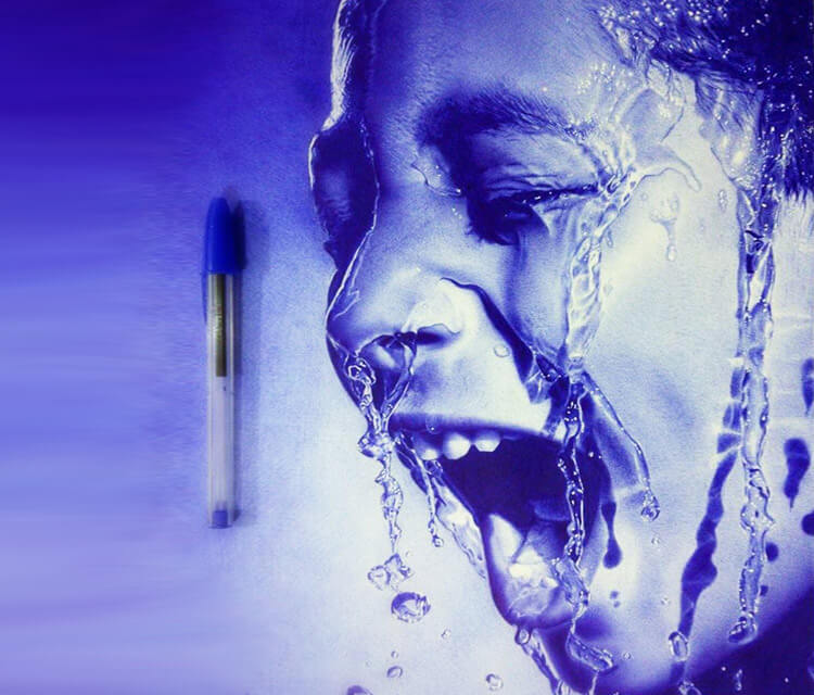 Water in face pen drawing by Mostafa Mosad Khodeir