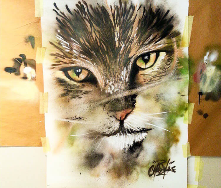 Freehand sprayscan Cat by Mr. Shiz