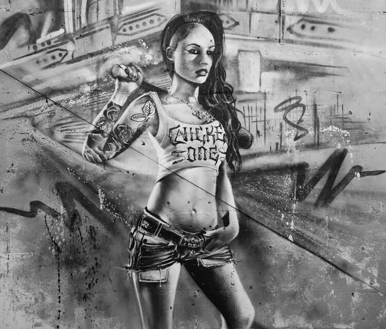 Inked Girl street art by Mr Shiz