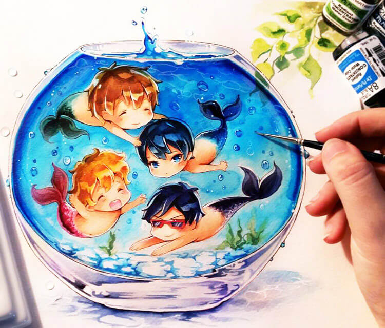 Free Boys need water painting by Naschi Art