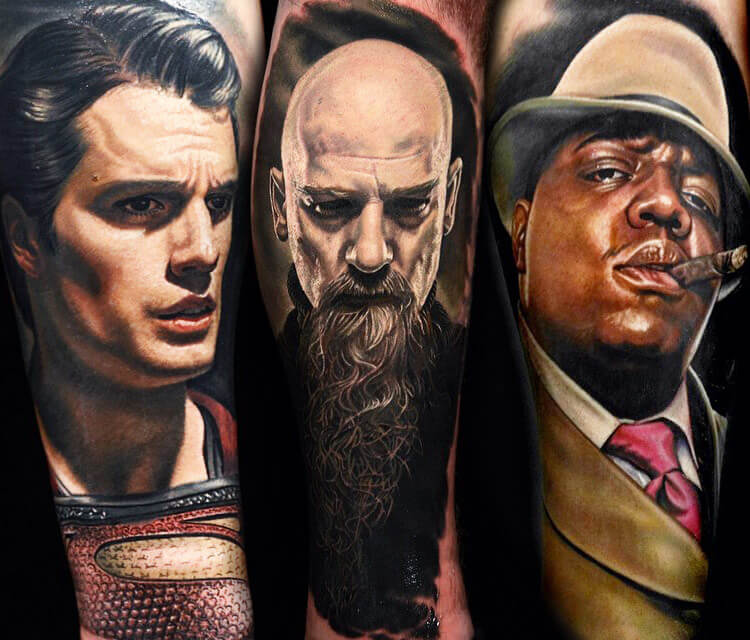 Three portrait tattoo by Nikko Hurtado