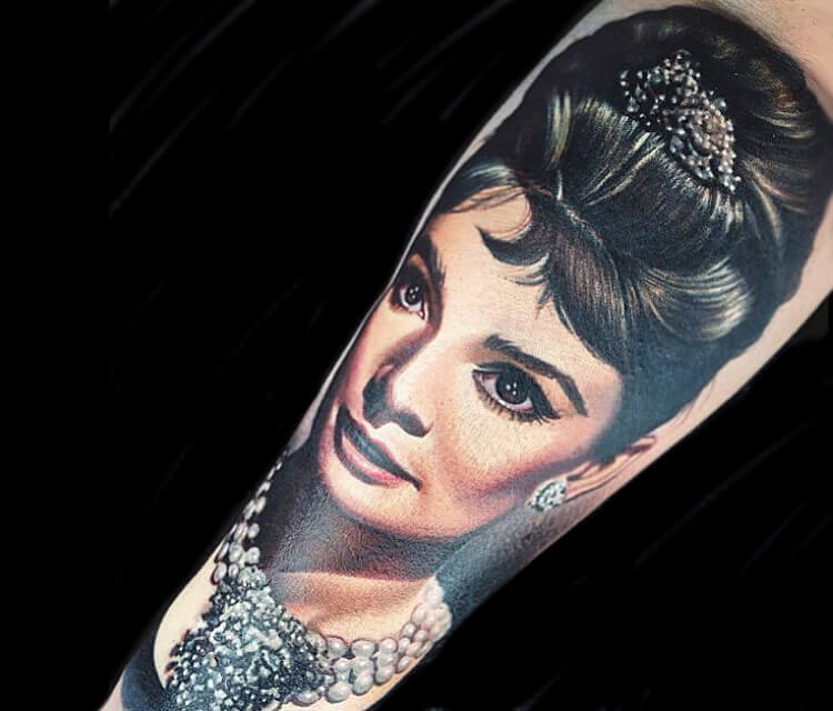 Audrey Hepburn portrait tattoo by Nikko Hurtado