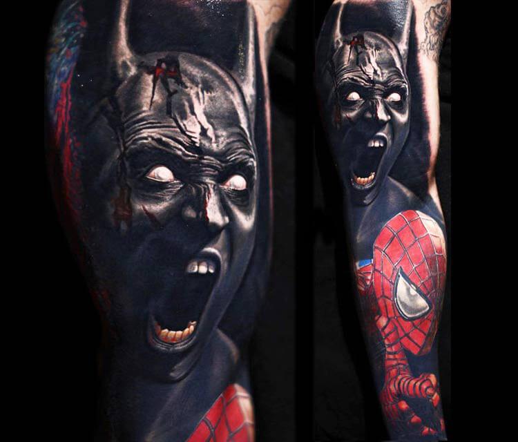 Batman and Spiderman tattoo by Nikko Hurtado