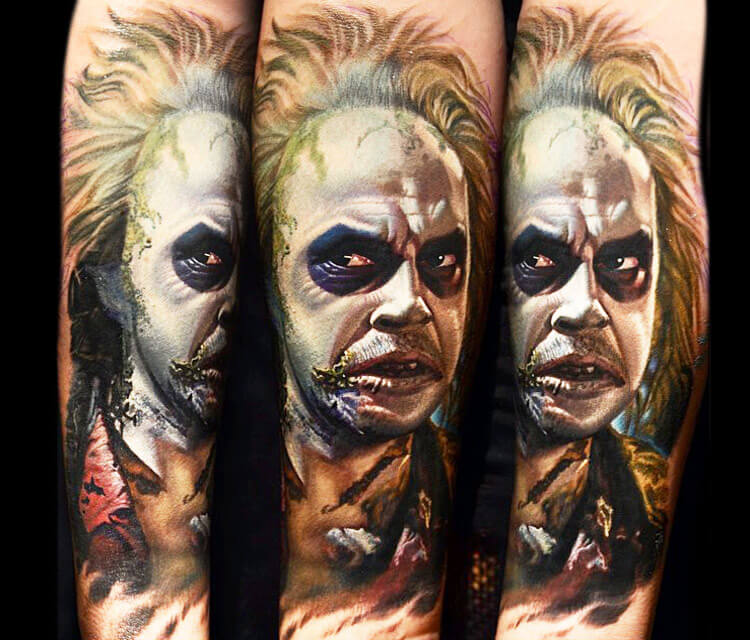 Beetlejuice portrait tattoo by Nikko Hurtado
