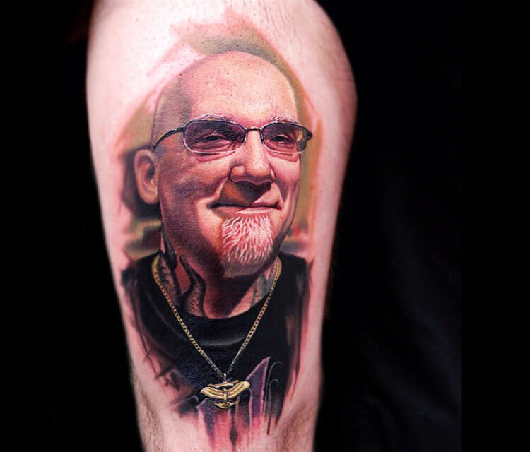 Portrait tattoo of Bob Tyrrell by Niko Hurtado