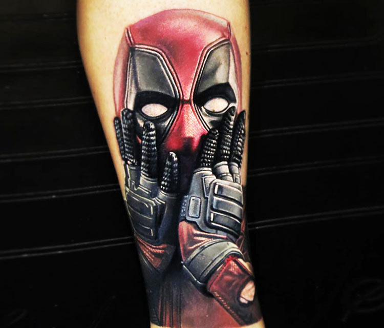 Deadpool tattoo by Nikko Hurtado