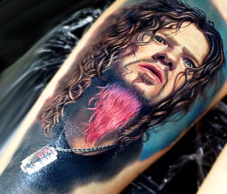 Dimebag Darrell portrait tattoo by Nikko Hurtado
