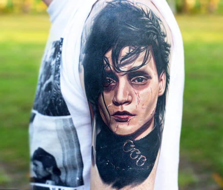 Tattoo of Edward Scissorhands by Nikko Hurtado