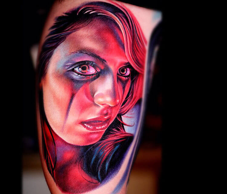 Face woman tattoo by Nikko Hurtado