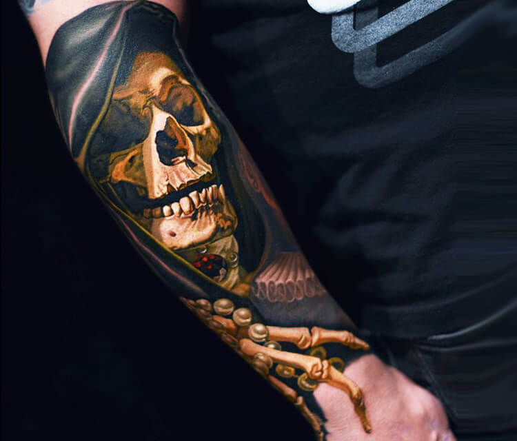 Forarm inner Skull tattoo by Nikko Hurtado