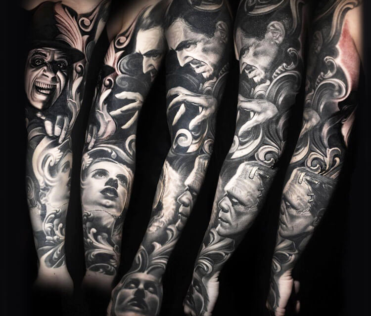 Horror Sleeve tattoo tattoo by Nikko Hurtado