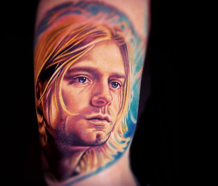 Kurt Cobain tattoo portrait by Nikko Hurtado