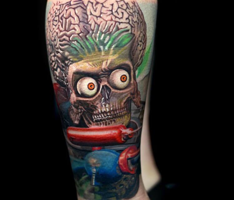 Mars attack Alien tattoo by Nikko Hurtado