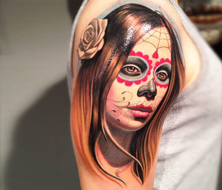 Muerte tattoo work by Nikko Hurtado