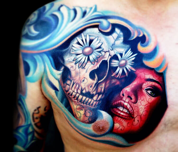 Skull and muerte breast tattoo by Nikko Hurtado