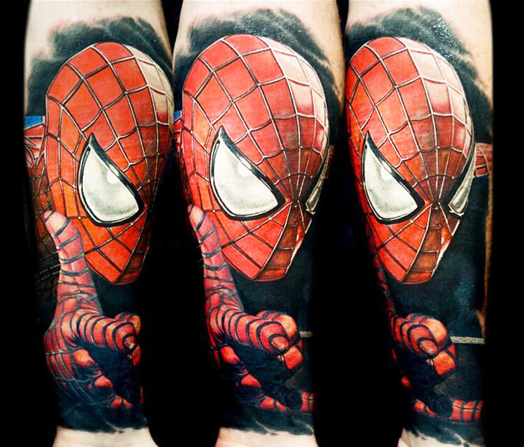 Spiderman portrait tattoo by Nikko Hurtado