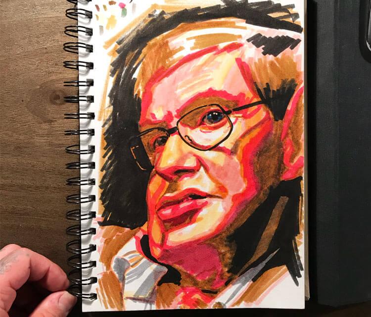 Stephen Hawking marker drawing by Nikko Hurtado