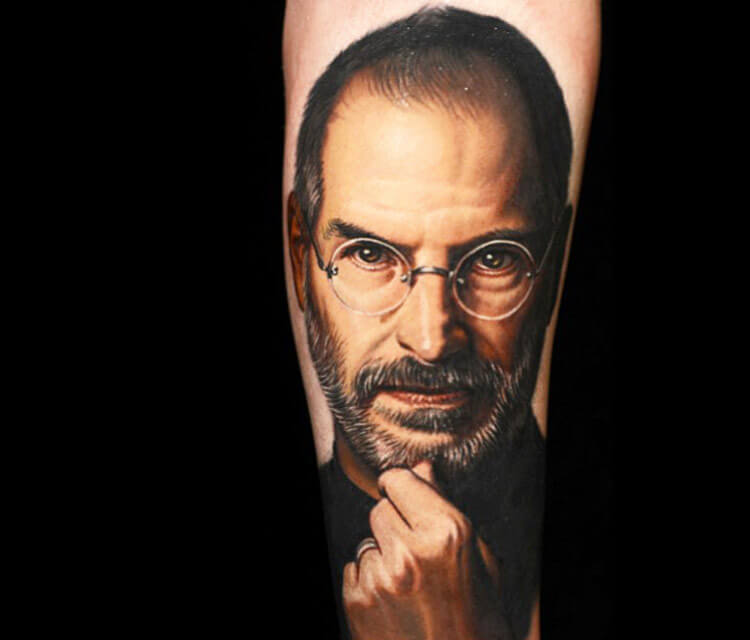 Steve Jobs tattoo portrait by Nikko Hurtado
