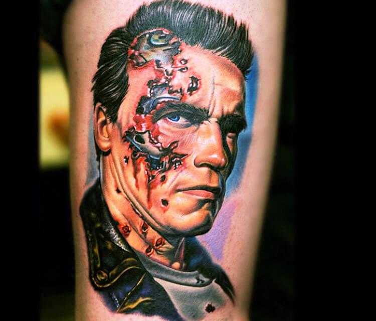 Tattoo portrait of Terminator by Nikko Hurtado