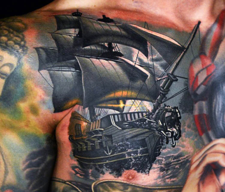 The Ship tattoo by Nikko Hurtado
