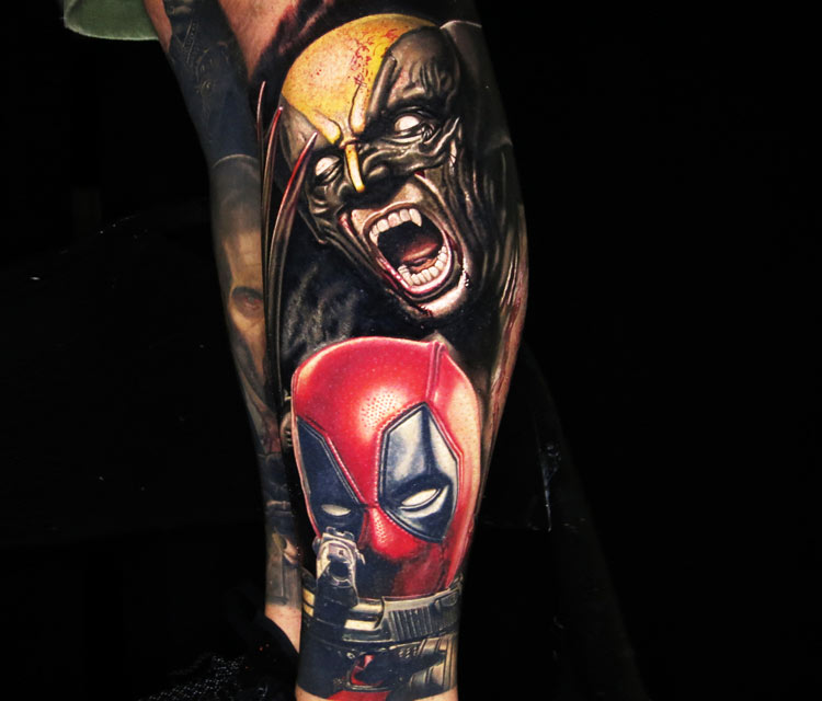 Wolverine and Deadpool tattoo by Nikko Hurtado