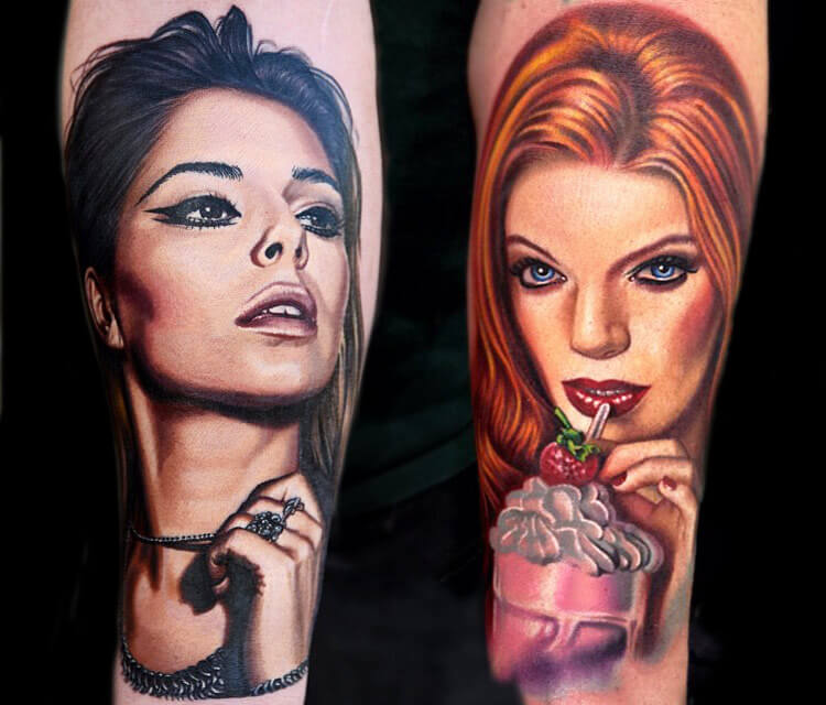 Portrait tattoo of Women by Nikko Hurtado