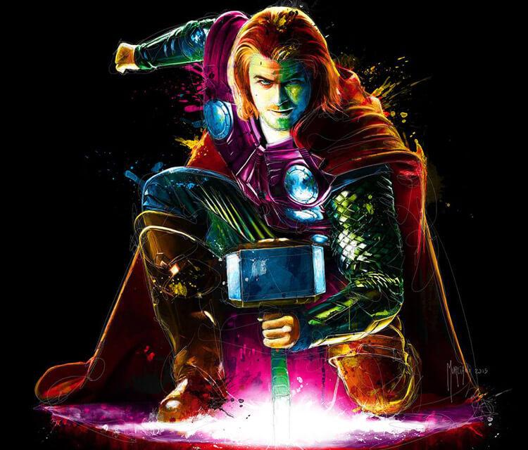 Avanger Thor mixedmedia by Patrice Murciano