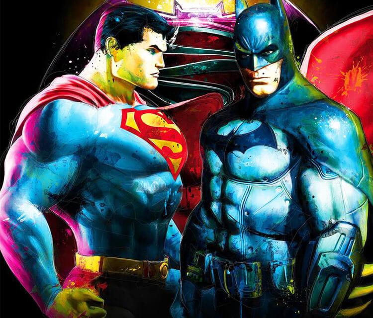 Batman vs Superman oil painting by Patrice Murciano