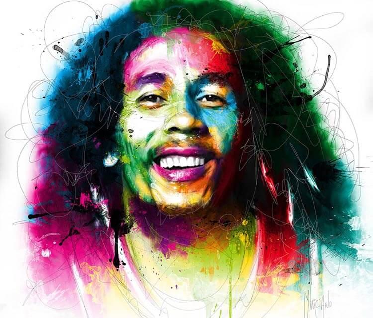 Portrait of Bob Marley, mixed media by Patrice Murciano