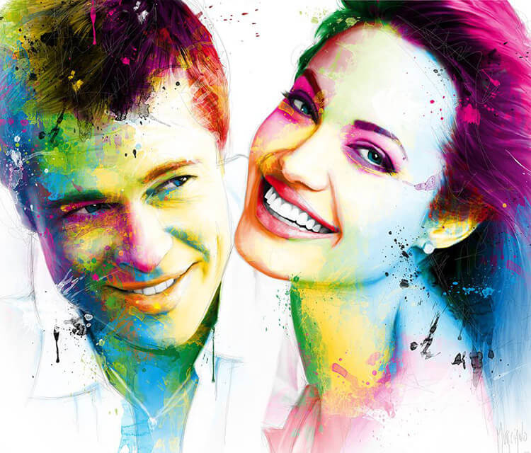 Brad and Angelina mixedmedia by Patrice Murciano