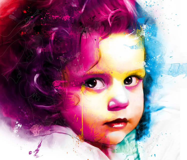 Portriat of Children Chloe, mixed media by Patrice Murciano