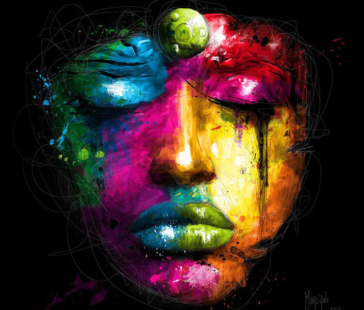 Coloured woman face mixedmedia by Patrice Murciano