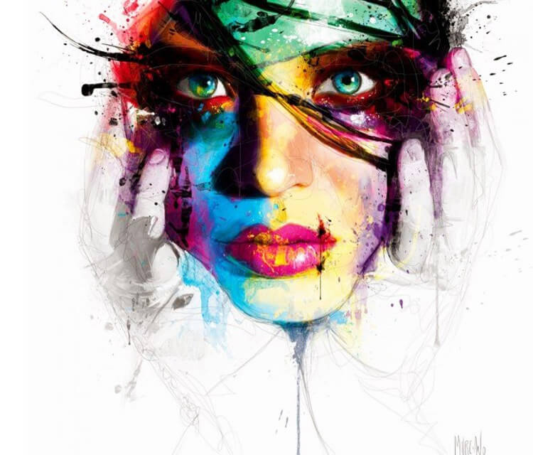 Abstract face, mixed media by Patrice Murciano