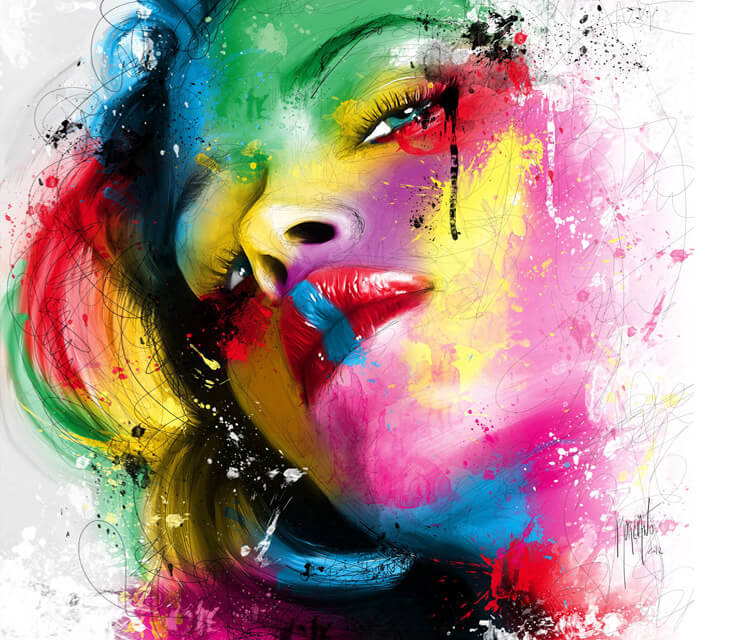 Face woman, mixed media by Patrice Murciano
