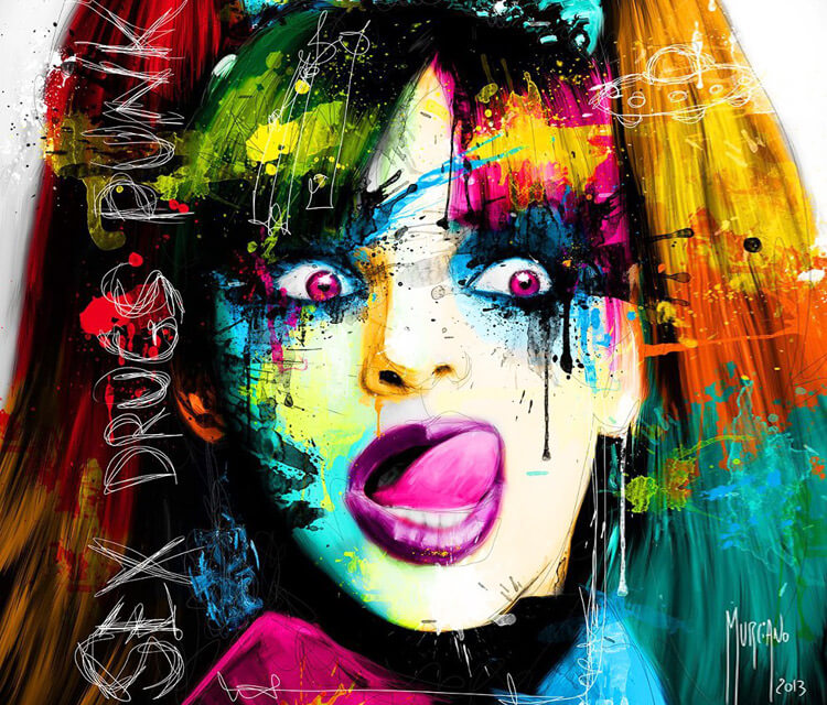 Abstract girl face, mixed media by Patrice Murciano