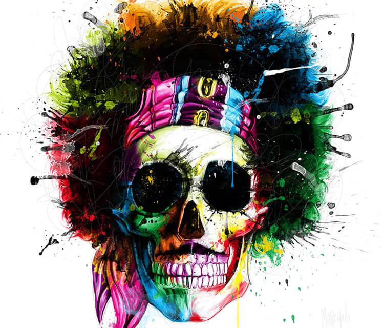 Skull of Jimmy Hendrix, mixed media by Patrice Murciano
