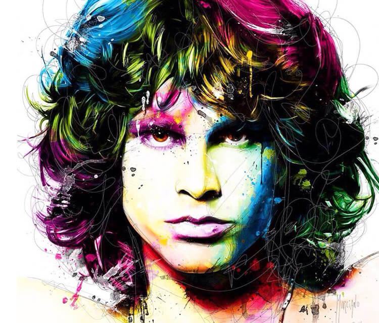 Portrait of John Morrison, mixed media by Patrice Murciano