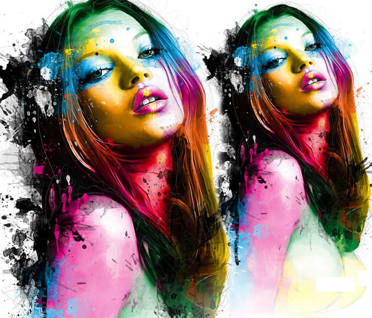 Portrait of Kate Moss, mixed media by Patrice Murciano