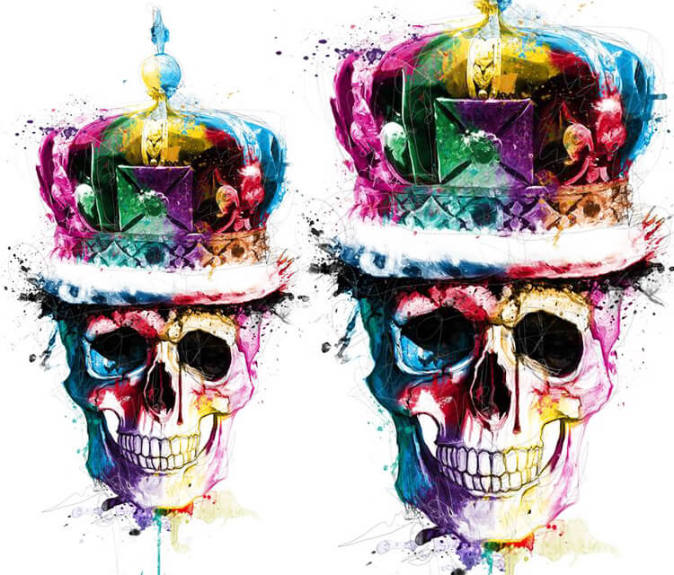King Skull, mixed media by Patrice Murciano