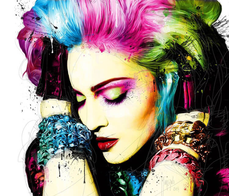 Portrait of Madonna by mixed media by Patrice Murciano