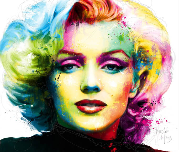 Portrait Marilyn Monroe, mixed media by Patrice Murciano