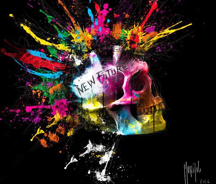 New Future Skull, mixed media by Patrice Murciano