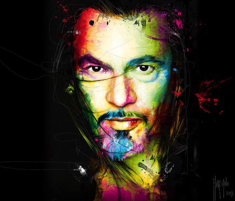 Man portrait, mixed media by Patrice Murciano