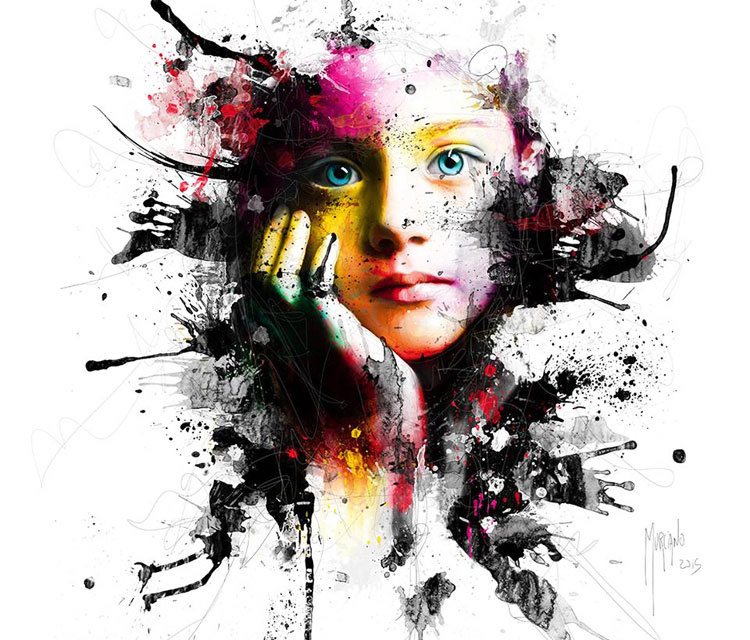 Splash face mixedmedia by Patrice Murciano