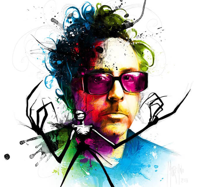 Portrait of Tim Burton, mixed media by Patrice Murciano